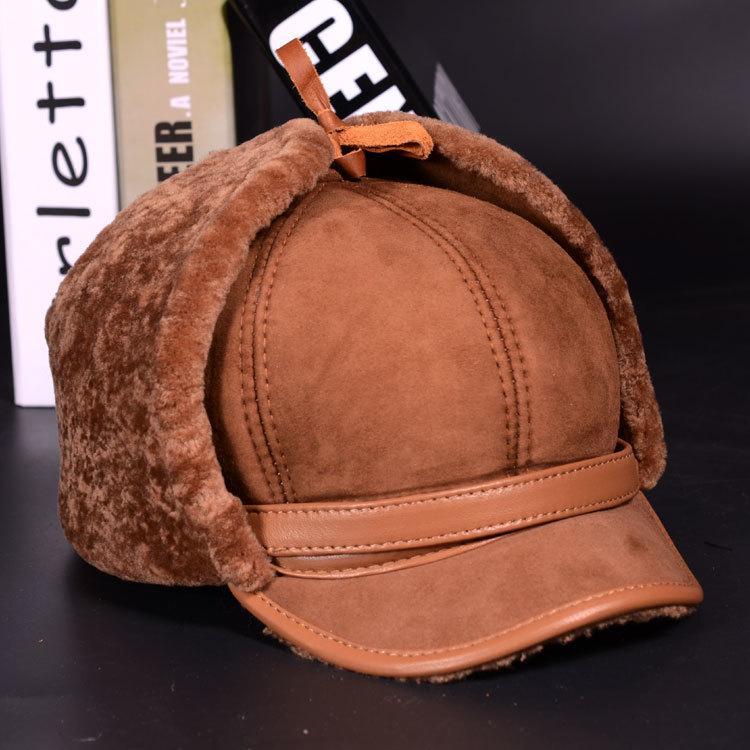 RY981 Luxury Winter Man Real Leather Full Wool Goat Fur One Bomber Hats Male Fleece Warm Caps Brown/Dark Blue Motocycle Bonnet Y200110