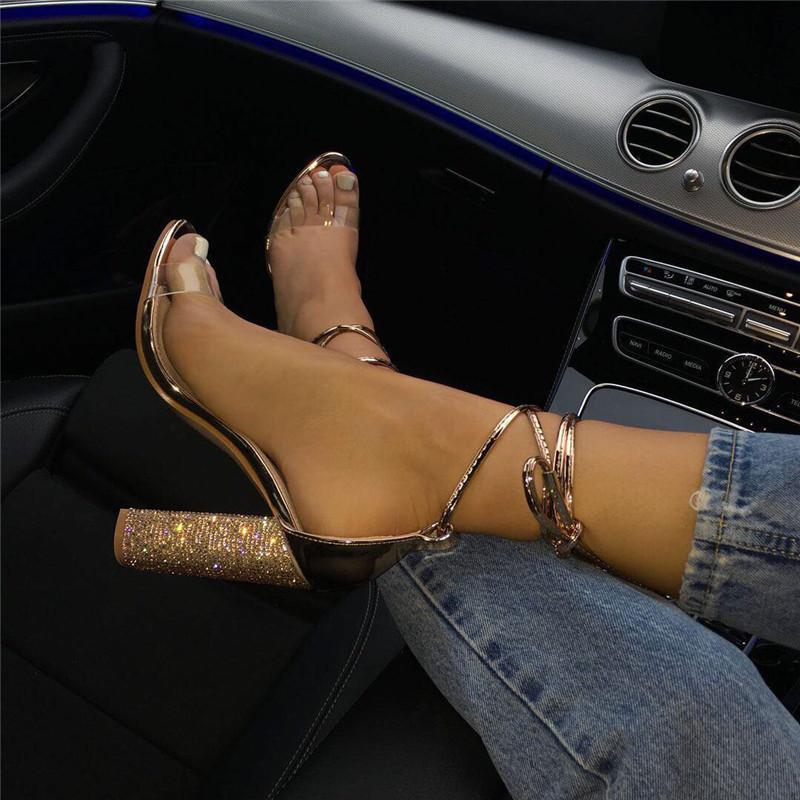 Femmes Escarpin Sandales d'été carrées Talons cristal Heeled Plateforme Chaussures Femmes Sexy Party de mariage Chaussures à lacets