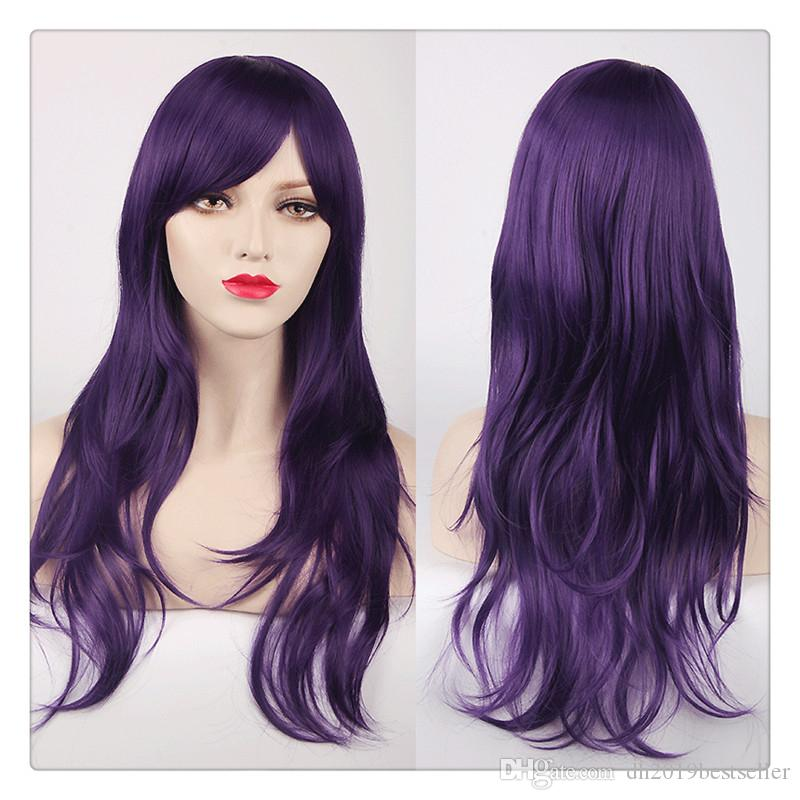 Women 70cm Long Curly Hair Sexy Cosplay Wig Oblique Bang Heat Resistant Hair Ombre Body Wave High Quality