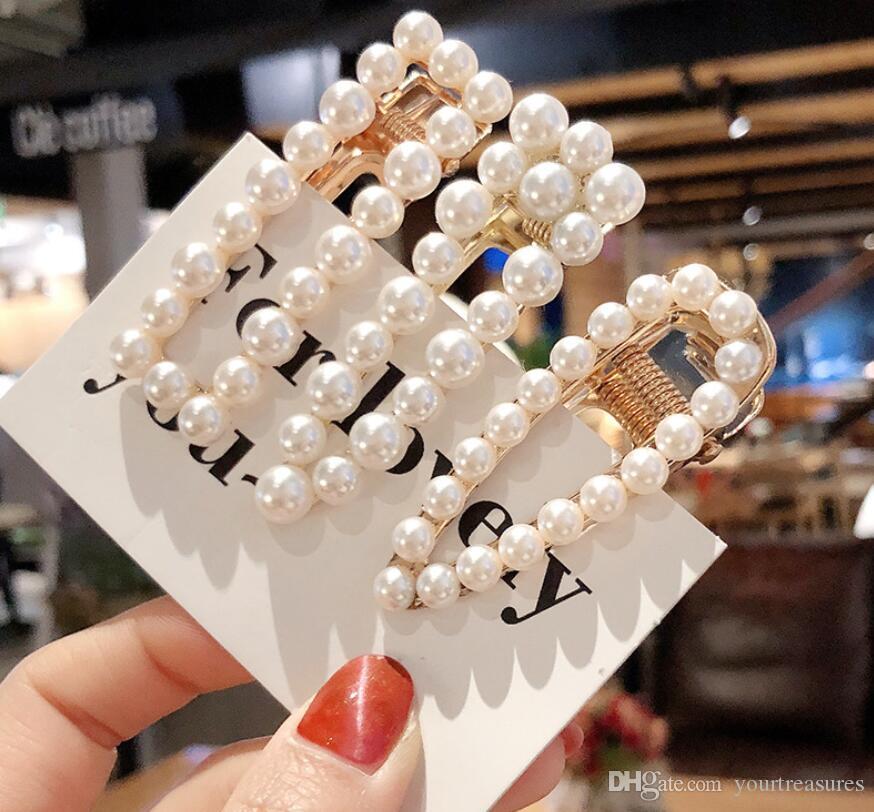6pcs femme mariage élégant perle géométrique pince coiffures de cheveux coréens clips en alliage barrettes filles accessoires de cheveux poignées de cheveux