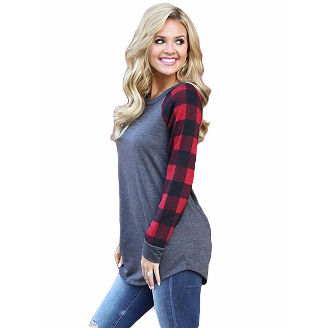 Maternity Tops tees Women Plaid Raglan Long Sleeve Color Block Base Top Tees Ladies Pullover Round Neck Checks T Shirts