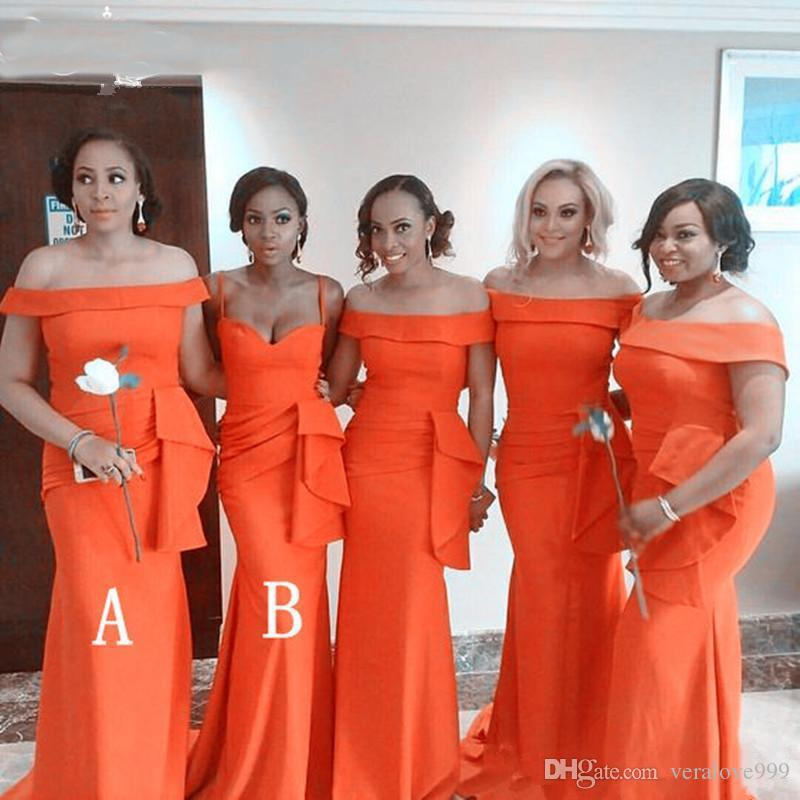 African Mermaid Bridesmaid Dresses Satin Plus size Off the shoulder Ruched Wedding Guest Gowns Orange Prom Evening Party Dresses