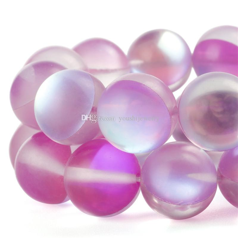 Moon Stone Glass Round Loose Beads 8mm*50