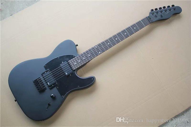 مصنع مخصص أسود غير لامع جسم الغيتار الكهربائي مع التوقيع، روزوود الأصابع، أسود PICKGUARD، 2 بيك آب، يمكن تخصيص