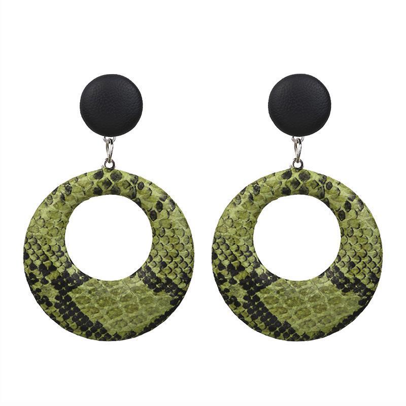Hot S1348 mode en cuir Bijoux Femmes PU Boucles d'oreilles Hoop serpent Faux cuir Dangle Boucles d'oreilles
