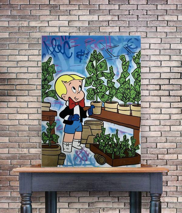 Alec Monopoly Graffiti Richie Money Tree Planting Home Decor Handpainted &HD Print Oil Painting On Canvas Wall Art Canvas Pictures 200519