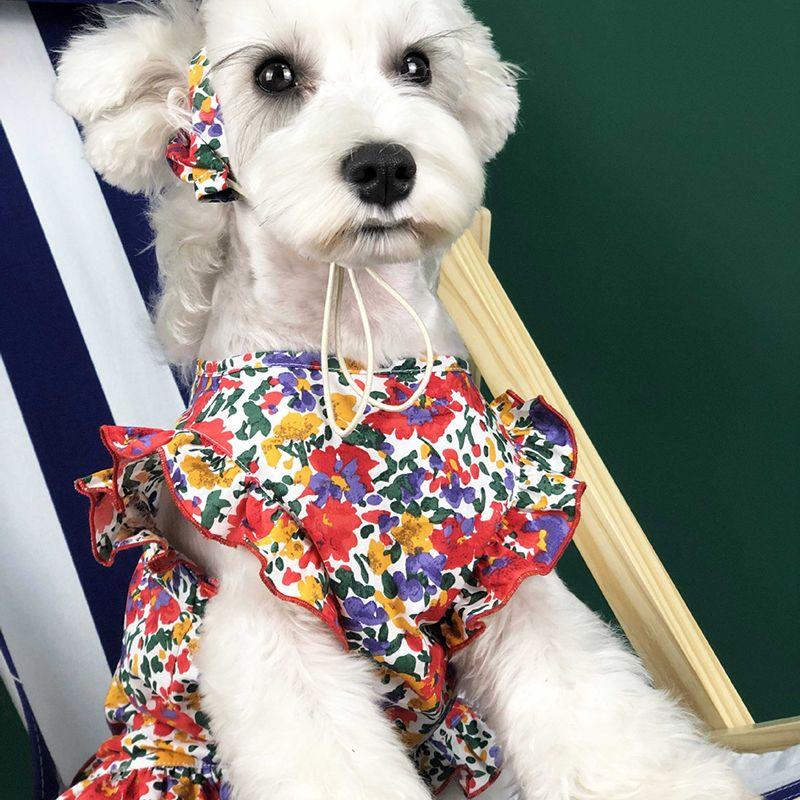 Summer Cute Pet Princess Dress Teddy Puppy Schnauzer Small Dog Dresses Fashion Printed Sleeveless Dog Apparel