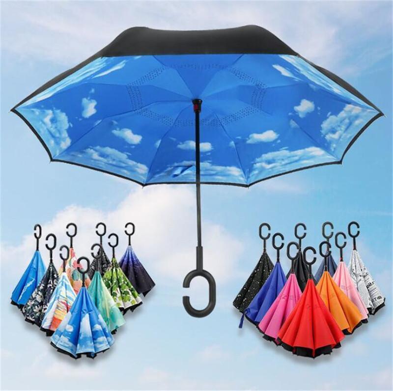 Windproof Ters Şemsiye Çift Katmanlı Ters Katlama Şemsiyeler ile C Kol Öz Inside Out Şemsiye Ters Güneşlik 25 Renkler Standı