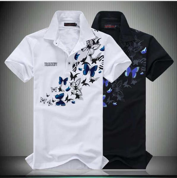 2020 Designer de Nova Men Verão Estilo Chinês C Impresso borboleta camisas pólo com lapelas e mangas curtas