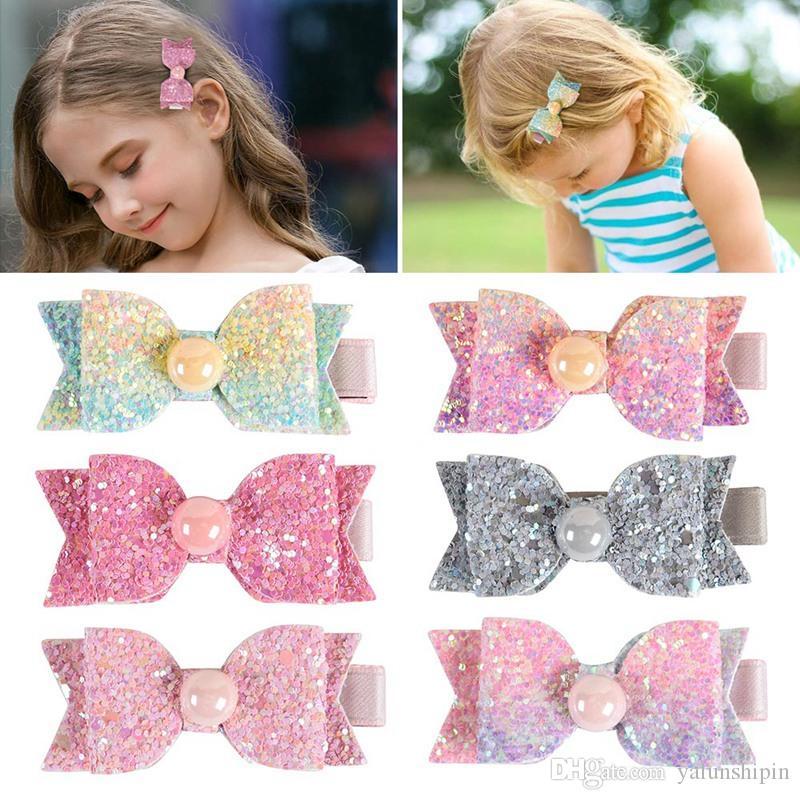 2.4 '' Glitter Cabelo De Couro Arcos Pérola Grampos de Cabelo Para Princesa Meninas Handmade Hairgrips Acessórios Para o Cabelo