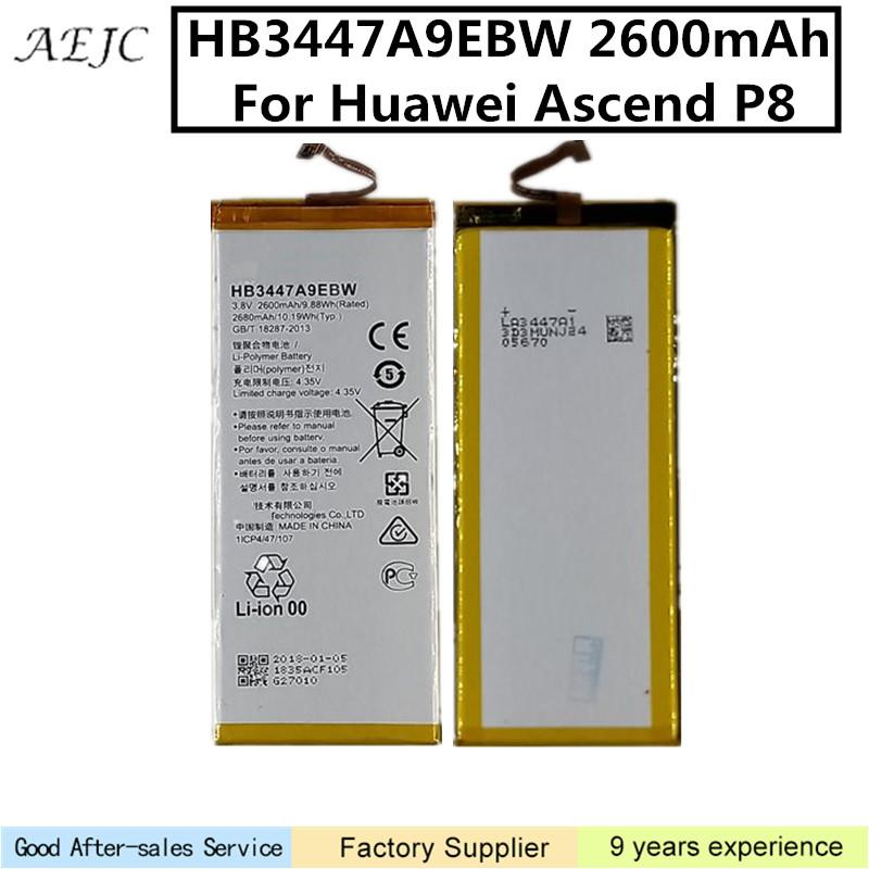 HB3447A9EBW 2600mAh batería para Huawei Ascend P8 Batería de polímero de litio de la batería batería para Huawei P8
