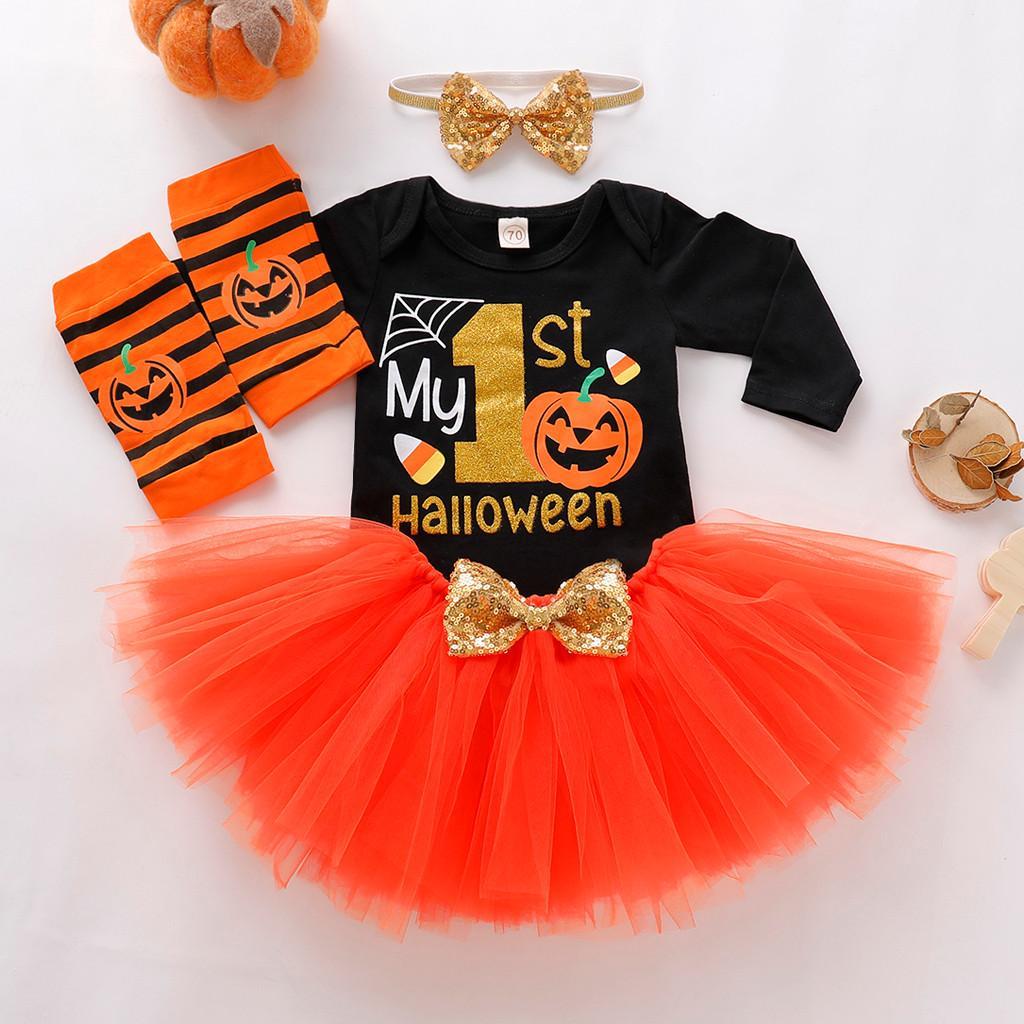 Toddler Kids Summer Baby Girls Halloween Pumpkin Cartoon Princess Dress Clothes