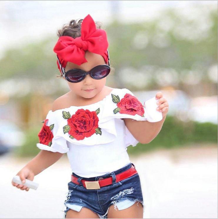 الصيف الطفل بنات ملابس أطفال 3D زهرة الطباعة بلا أكمام الكشكشة الرقبة جولة تي شيرت تي شيرت الدينيم سروال هول 2PC مجموعة القطن