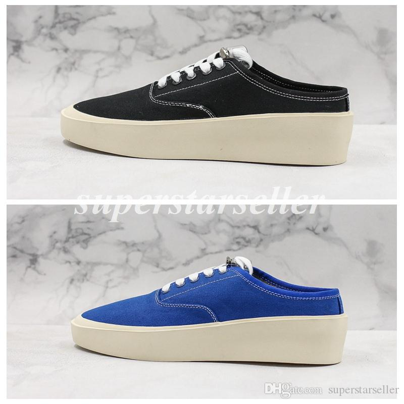 Fear Of God 101 Backless Sneaker Schwarz Blau Low Top Sneakers FOG Herren Designer Schuhe Canvas Für Herren Sneakers Sneakers Größe 12