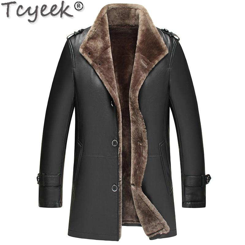 Genuine Sheepskin Leather Jacket Winter Sheepskin Coat Real Wool Fur Liner Motorcycle Jacket Man Warm LWB1761-1 KJ1582