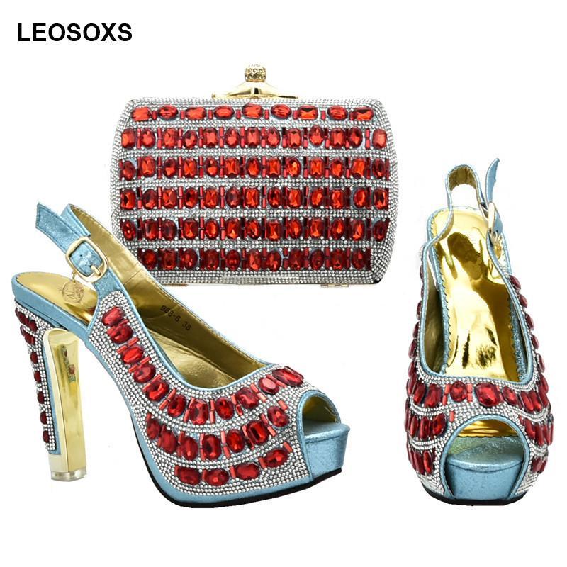 Donna scarpe italiane e Bag Set decorato con strass donne scarpe per matrimonio tacco alto Donne africane Borse Set