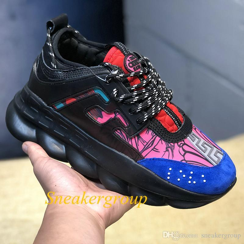 HOT2019 Luxury designer shoes Chain Reaction Casual Shoes Black White Mesh Rubber Leather Flat Mens womens Fashion Sneakers