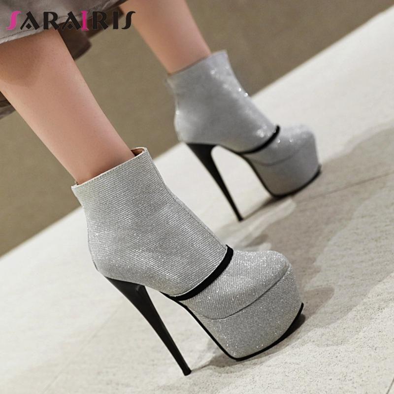 SARAIRIS Yeni Bayanlar 2020 Özlü Parti Yüksek Topuklar Boots Süper Yüksek Topuklar Boots Kadınlar Şık Platformu Bilek Ayakkabı Kadın