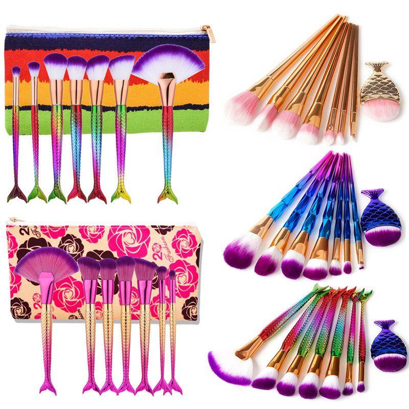 Mermaid Makeup Brushes Set 7 8 pcs Foundation Eyeshadow Make up Brushes Kit Concealer Fan Powder Travel Brush Tool with Cosmetic Bag Case