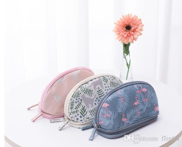 حقيبة مستحضرات التجميل المحمولة طبقة مزدوجة السفر أكياس الحقيبة ماكياج دائرية المكياج حقيبة فرشاة المنظم