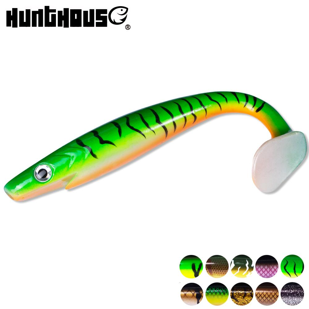 Hunthouse 2pcs/lot pro pig shad pike lure 20cm 50g paint printing Lure Paddle tail shad silicone souple leurre Natural Musky T191016