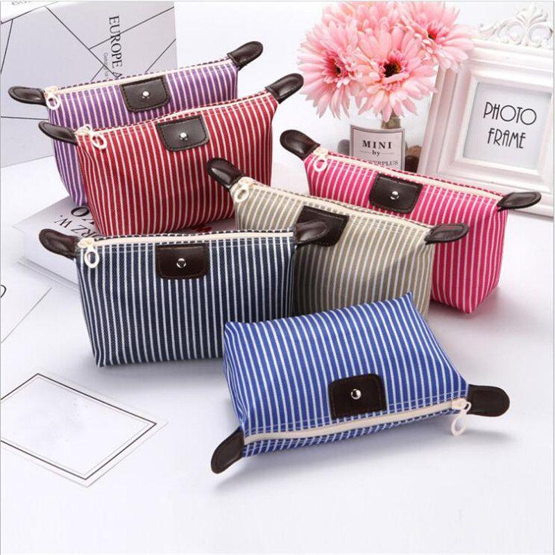 6 Coreano Color Versión compone el bolso de masa hervida de maquillaje bolsa de rayas de color de poliéster Alrededor portables suaves cosmética de la buena calidad
