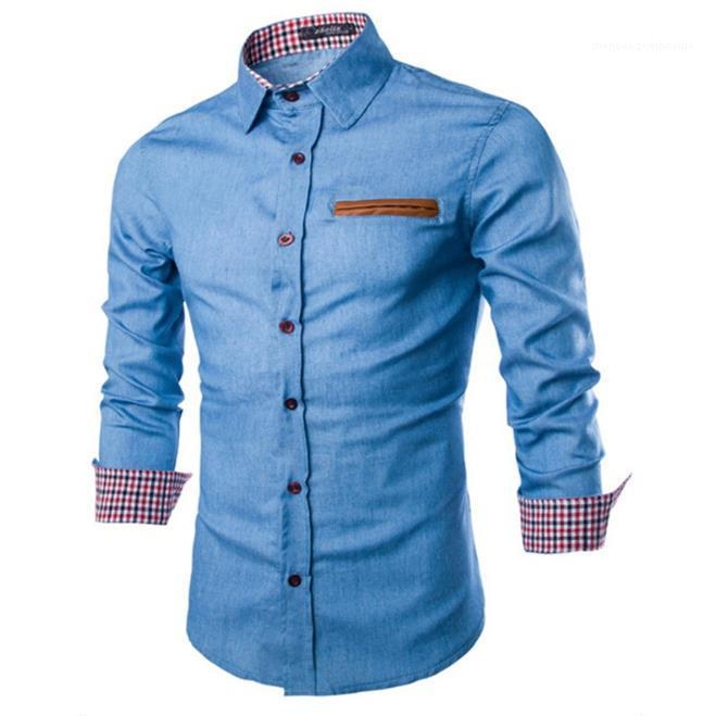 سليم ذكر بلايز مصمم الدينيم قميص رجالي سترة كم طويل التلبيب عنق رجل عارضة قمصان الموضة