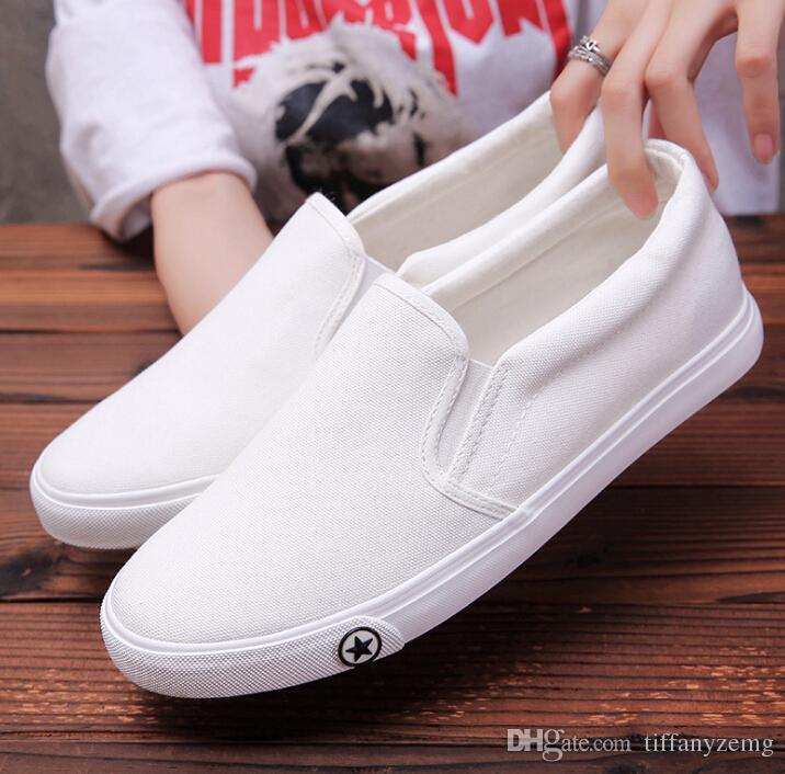 2019 Tuval ayakkabı iş erkek beyaz erkek ayak bileği elastik ayakkabı erkek ayakkabı hafif giyilebilir
