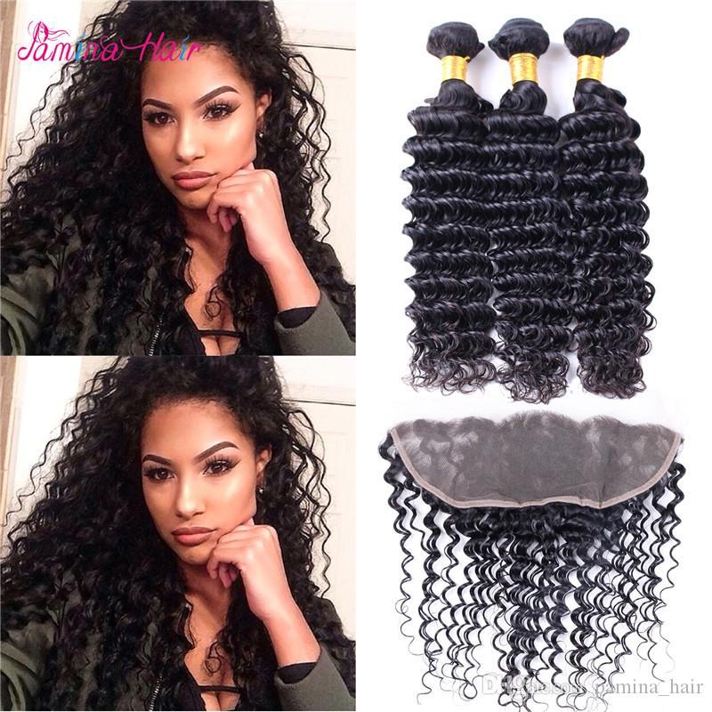 8A peruanisches reines Haarbündel mit Frontal 100% Rohboden Virgin Hair 3 Bundles mit Spitze Frontal Closure-natürliche Farbe Haar-Verlängerung