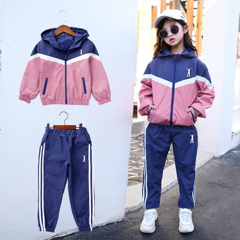 Niñas sistemas de la ropa Tamaño Sportswear juego de las muchachas adolescentes otoño chándal para niños Plus juegos de los deportes traje 6 8 10 12 años o