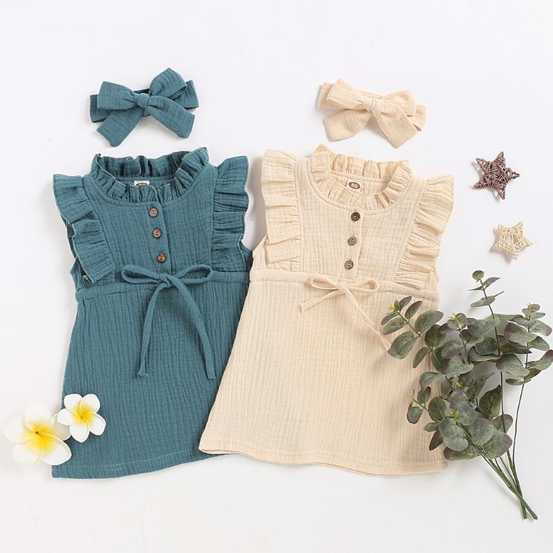 Vestido Bebé de crianças da criança de linho Sólidos Botão Ruffle Princess Party Summer Dress Casual Vestido de Verão Crianças Roupa Vestidos