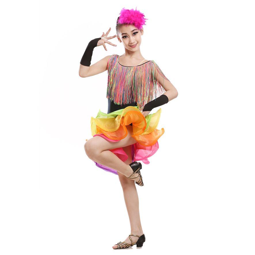 Spectacle de danse latine pour enfants Robes de danse latine pour enfants Représentations Concours Costumes Nouveaux Franges paillettes do92