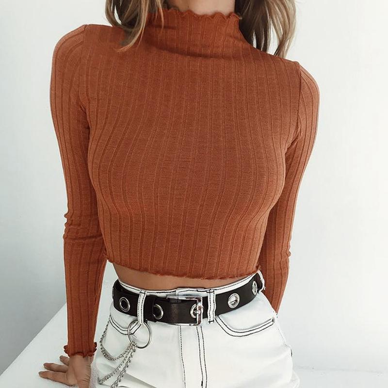 Donne Crop base a coste maglione dolcevita donne Pullover Femme sexy maniche balza 2019 Autunno Inverno Maglione Jumper