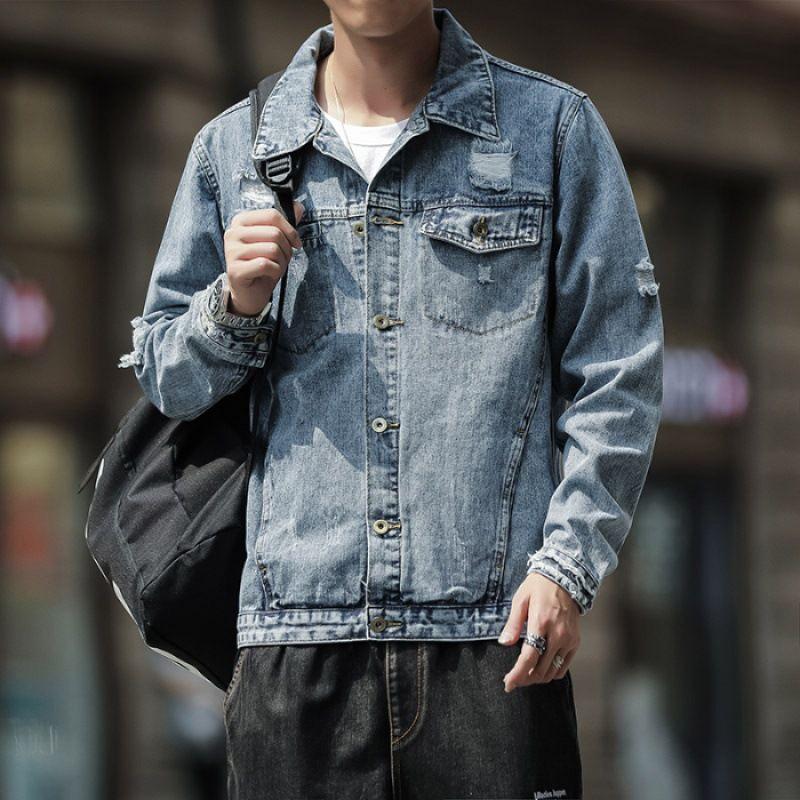 Primavera e Outono Homens com buracos Denim Jacket 2019 estilo coreano New Style Brasão Tendência homens de desgaste bonito Loose-Fit na roupa