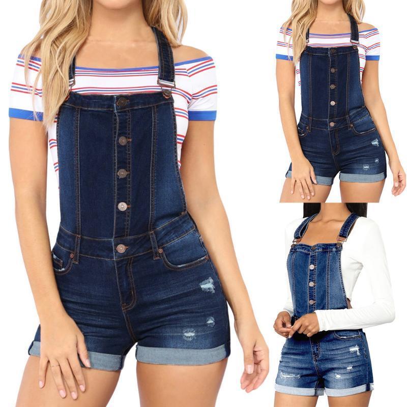 Tasto Casual Donne Moda canotta Solid vita alta estiva breve tuta di jeans Tute le signore dell'ufficio Combinaison # 30