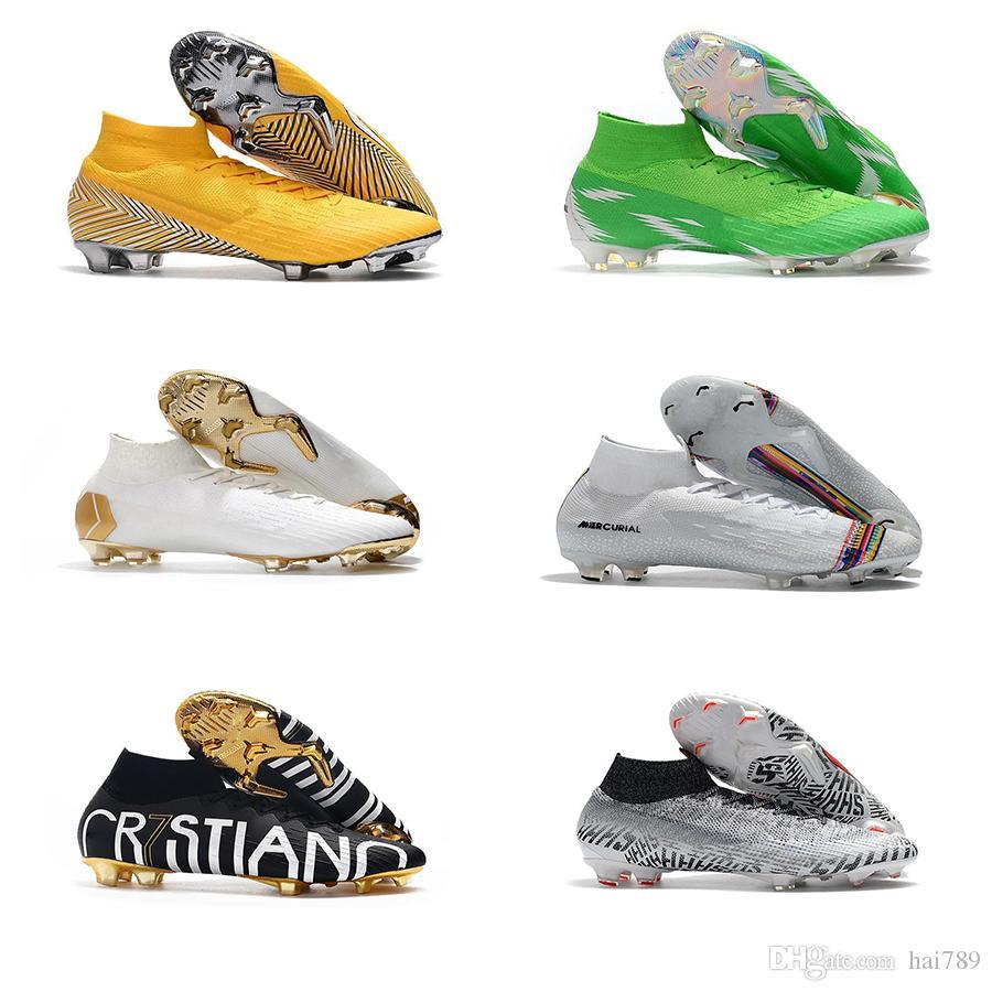 Hot Mercurial Superfly VI 360 Elite FG KJ 6 XII 12 CR7 Ronaldo Neymar Hombres Mujeres Niños Zapatos de fútbol alto Botas de fútbol Tacos Tamaño EE. UU. 3-11