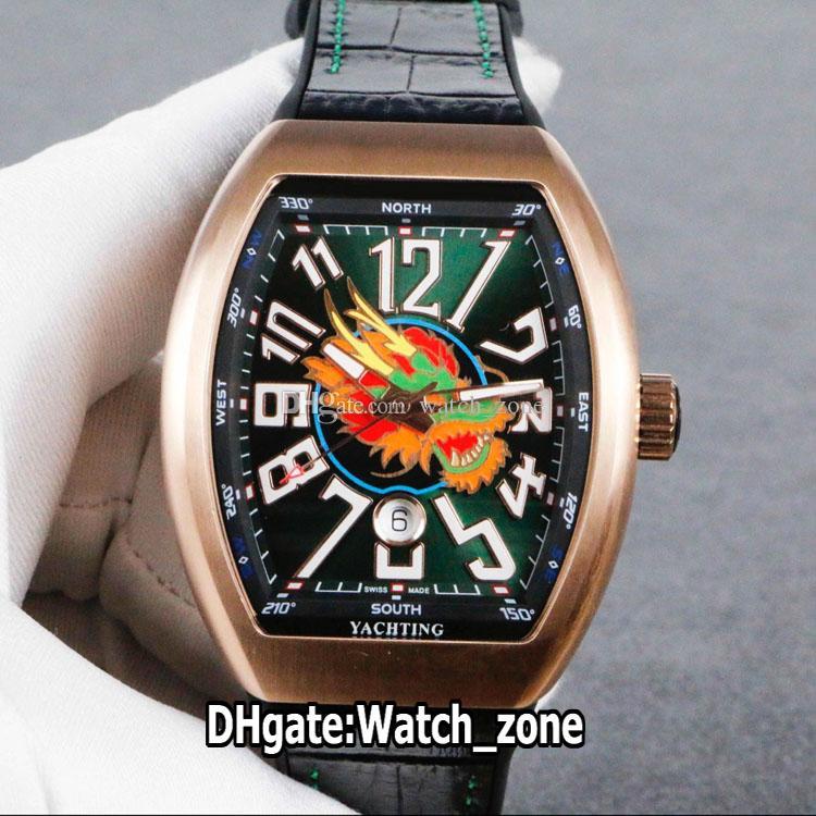 Nuova Collezione Uomo Vanguard cassa in oro rosa V45 SC DT Yachting Drago Totem quadrante nero Miyota automatico Mens Orologi dell'orologio cinghia di cuoio