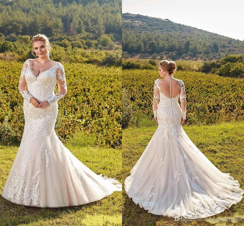 2019 New Spring Mermaid Trumpet Wedding Dresses Plus Size V Neck With Long  Sleeves Lace Applique Backless Wedding Dress Bridal Gowns Cheap Mermaid ...