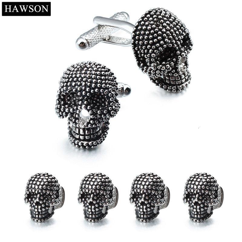 Trendy Skull Designer Cufflinks Studs Set Mens White Tuxedo Shirt Jewelry Accessories Party Best Gift Black Enamel Cuff links SH190925