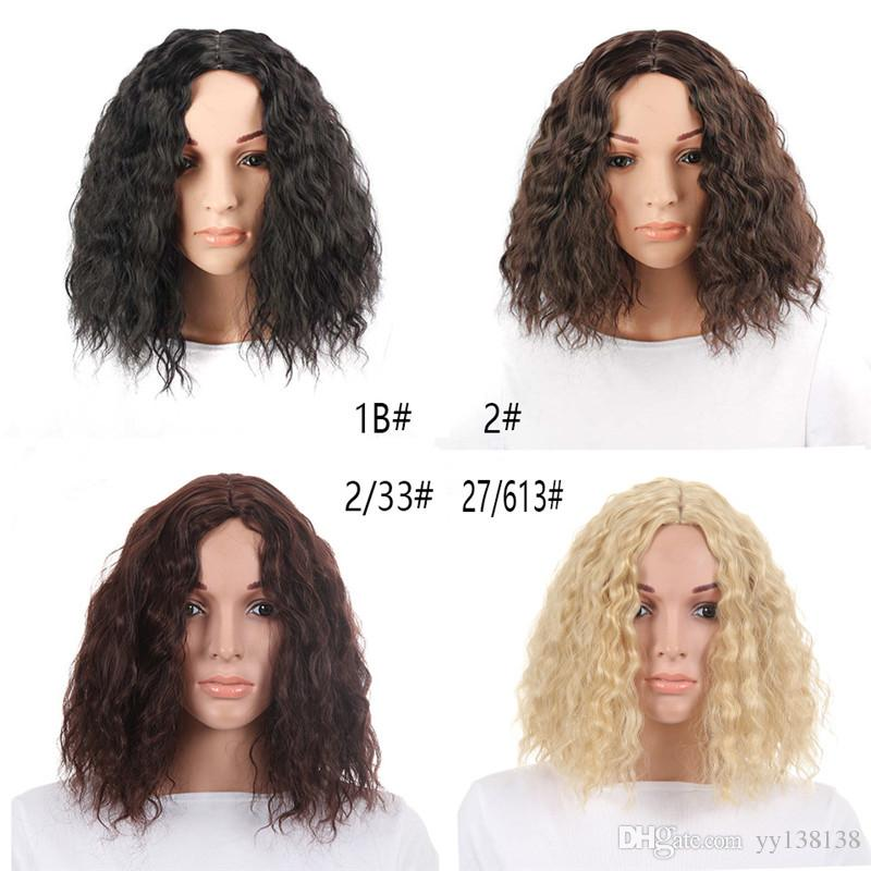Bob Wig Short Synthetic Mixed Color Black Mix Dark Brown Wigs For Women Medium Length Heat Resistant Cosplay Wigs Curly Front Human Hair Wig Curly Lace Front Wigs Lace Wig From Yy138138