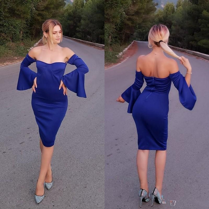 African Blue Off The Shoulder Long Sleeve Evening Dresses Sweetheart Sheath Homecoming Dress Knee Length Short Prom Dresses