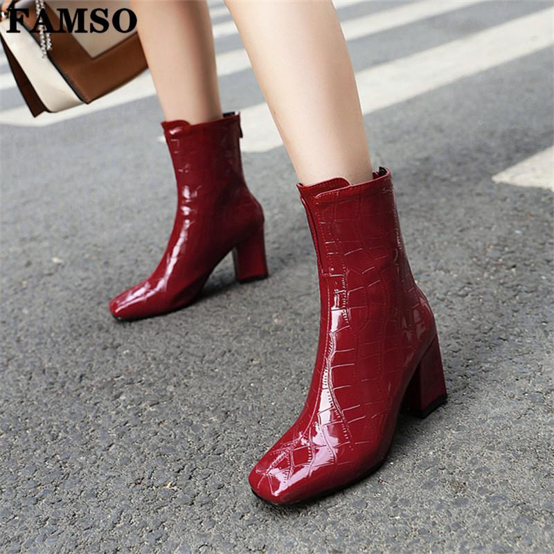 Boots 2019 Female Pu Leather Women Boots Thick Heels Ankle For Women Square Toe Winter Shoes