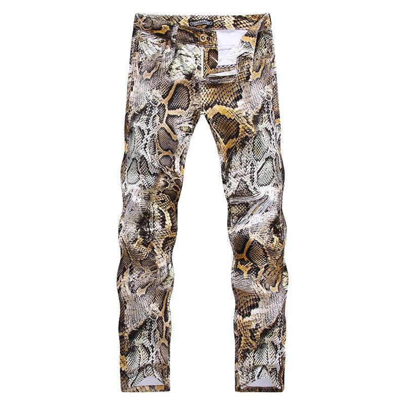 Herren Jeans neue Art und Weise Snakeskin Druck Denim-Hosen nehmen Farbige Stretchhose Streewear beiläufige Art zerrissene Jeans für Männer