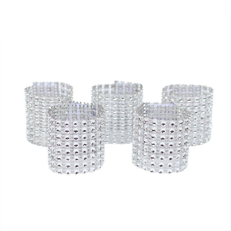 Anéis de Guardanapo Para A Festa de Recepção de Casamento Decorações de mesa Suprimentos de Casamento Cadeira Sash Diamante Envoltório De Malha Guardanapo Fivela DH0592