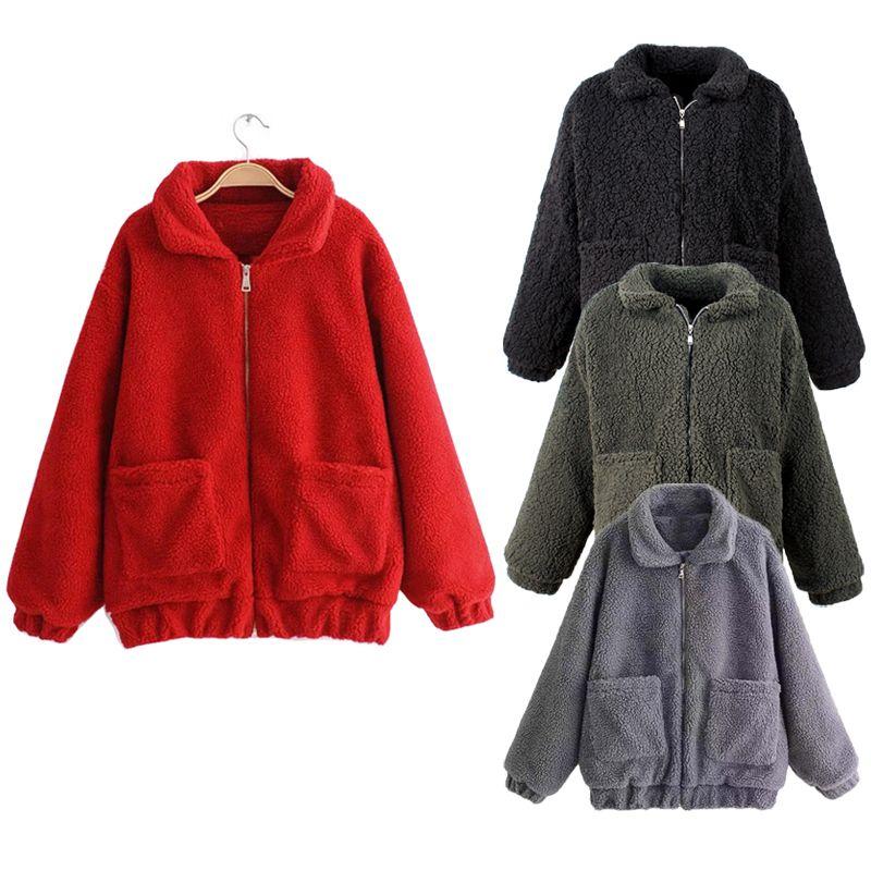 Women Casual Zipper Pocket Coat Cloak Winter Warm Outwear Cardigan ...