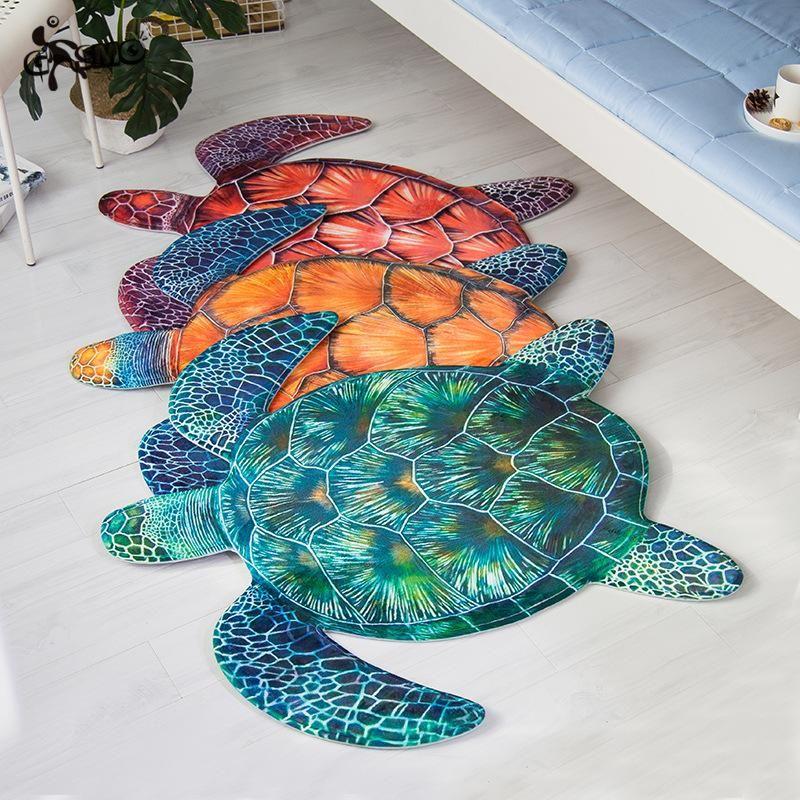 Sea Turtle Animal 3d Anti Slip Carpets for Living Room Bedding Room Velvet Door Mat Children Play Mats Chair Floor Mat Area Rug