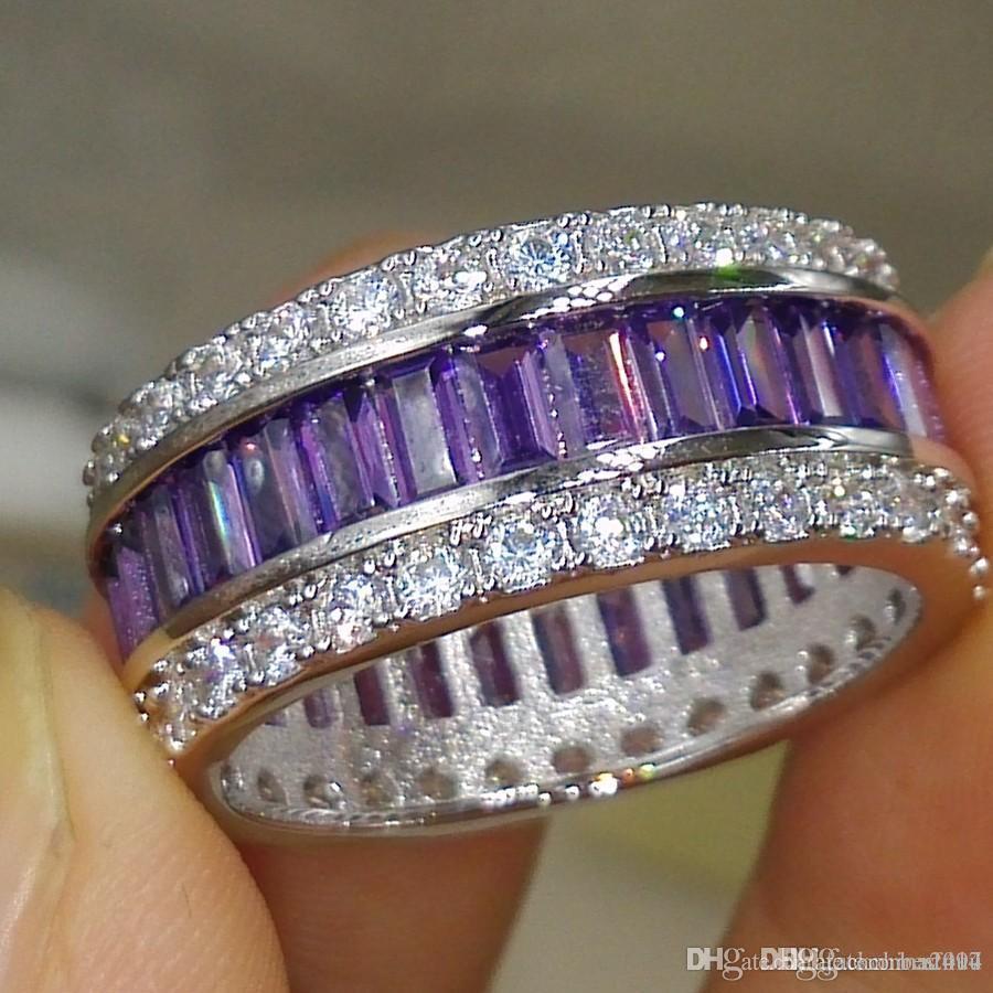 Commercio All'ingrosso professionale di lusso Jewlery Princess Cut 925 Sterling Silver Ametista pietre preziose Diamante DELLA CZ Wedding Lover Band Ring Regalo Formato 5-11