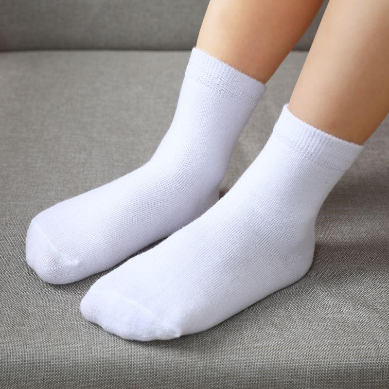 5pairls / lot Junge Mädchen reine weiße Socken für Kinder Baby-Cotton Soft Kinder Socken losen bequemen Kleinkind-Weiß-Tropfen-Schiff