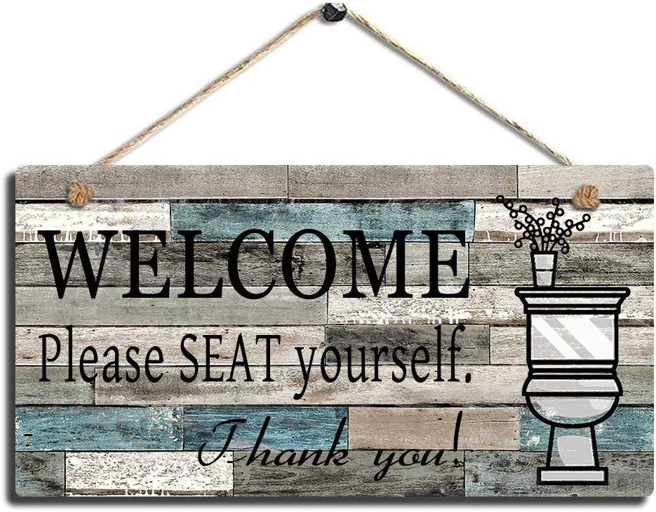 Bathroom Decor Printed Wood Plaque Sign Wall Hanging Welcome Sign Please Seat Yourself Wall Art Sign Mix Sytles