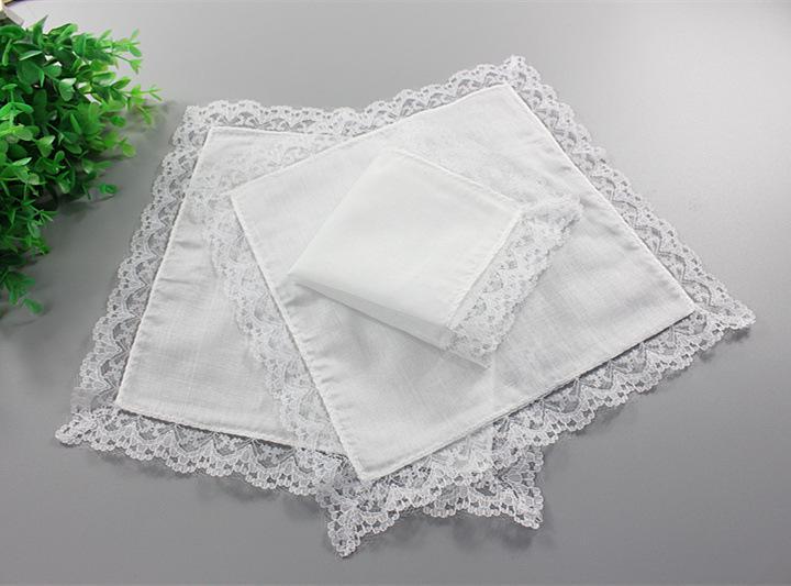 Mulheres artesanais branco guardanapo de laço de laço de algodão decoração de algodão bolso quadrado diy presentes de casamento puro lenço lenço em branco ha mcha